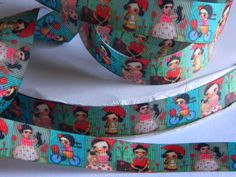 "Frieda Kahlo Grosgrain Ribbon 5 yards of 7/8"" Freida Kahlo Print Green Ribbon for Sewing Hair Bows Spanish Artist on Bike With Cat & Pug Dog by HouseofHairDecor on Etsy"