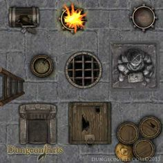 Dungeon Elements 1 - Fantasy Map Objects for use in tabletop role playing games or virtual tabletops like Roll20.net