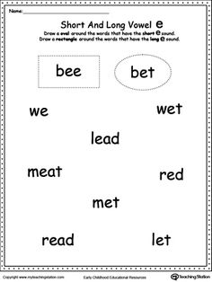 **FREE** Vowels: Short or Long E Sound Words Worksheet.Use this printable worksheet to practice recognizing the short and long vowel E sounds.