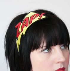 ZAP Embroidered Comic Headband Yellow and Red