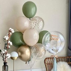 Metallic Balloons, Gold Confetti Balloons, Latex Balloons, White Balloons, Bridal Shower Party, Bridal Shower Decorations, Birthday Party Decorations, Party Wedding, Green Party Decorations