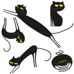 Dancing black cats with pumpkin Catenkit wallsticker by Ich  www.ichetkar.fr