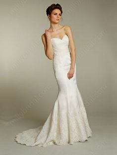 Trumpet/Mermaid Sweetheart Lace Satin Sweep Train Buttons White Wedding Dresses