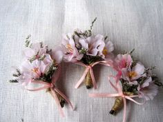 Spring cherry blossom wedding boutonnieres set by FlowerDecoupage