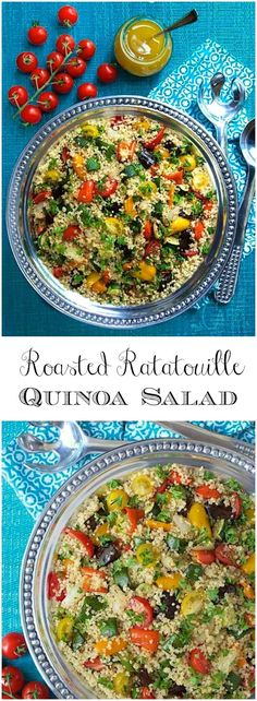 This fabulous Roasted Ratatouille Quinoa Salad is loaded with healthy veggies and makes a perfect side for any grilled or roasted entree via @cafesucrefarine