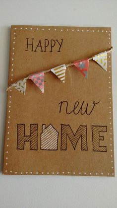 Handlettering new home kaart vlaggetjes Brush Lettering Worksheet, Quill And Ink, Hand Lettering For Beginners, New Home Cards, Note Doodles, Happy New Home, Sewing Cards, Decorating On A Budget, Diy Cards