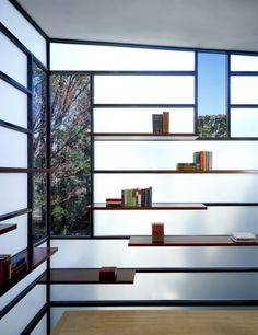 Eastern Market Row House Renovation / David Jameson Architect  The steel shell of the structure also works to create the internal bookshelf. The window views are tightly controlled visions of the neighborhood.