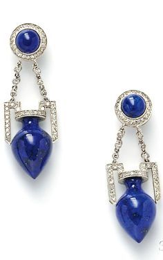 Platinum Lapis and Diamond Earpendants each lapis urn suspended from a sodalite top diamond melee accents lg. 1 7/8 in.