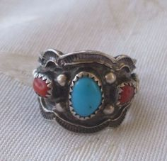 Signed Vintage NAVAJO Sterling Silver Turquoise and Coral Cigar Band RING, size 7.5, Richard Begay