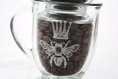 Two etched glass mugs. French Bee and Crown coffee cup set for French Country Home Decor on Etsy, $35.00