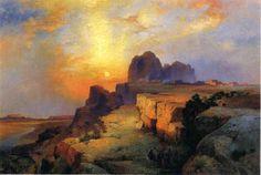 """Thomas Moran (American, 1837 – 1926) ~ """"Hopi Museum, Arizona"""", 1916"""