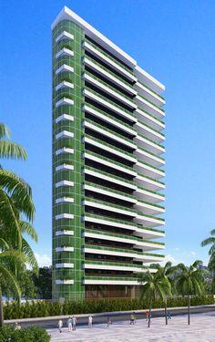 BrisaMar | 370m² | Beira Mar | Fortaleza Building Elevation, Building Facade, Building Exterior, Building Design, Condominium Architecture, Modern Residential Architecture, Minecraft City, Tower Design, Minecraft Architecture