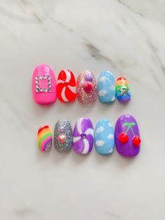 Glue On Nails, My Nails, Nail Photos, Funky Nails, Fire Nails, Nail Shop, Nail Stickers, Press On Nails, Nails Inspiration