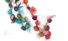 ...édith bellod...necklace 80cm, paper, fibre, ribbon - Elegant paper flowers with pebbles in their centres Like insects caught in multicoloured traps A game of hide-and-seek among the leaves Exposing floral patterns, glimpses of silver.