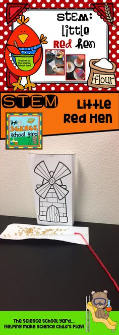 Three great STEM activities to go with the Little Red Hen story! From finding a way to carry wheat to the mill...to creating a cake...and even creating a story maze to show all the hard work Hen had to do...this pack is sure to help your learners work as a team, unlike poor Hen and her friends!  This pack includes: 4 activities station cards book connections and pictures of activities in action writing connections lesson plans and materials list extra activities and more!