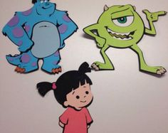 2 sets of 3 Monsters Inc. die cuts by scrappinbjs. Explore more products on http://scrappinbjs.etsy.com