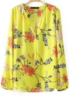 Yellow V Neck Long Sleeve Floral Chiffon Blouse EUR€16.20
