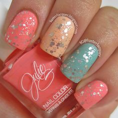 "Colors are Julie G ""Bikini"", Julie G ""9to5"", and Loreal ""Club Prive"" with Essie ""Set In Stones"" mattified.   @lusterlacquer"