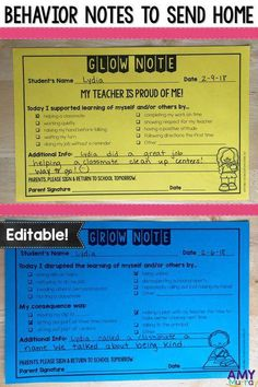 Behavior Notes to Send Home - Editable! Improve parent communication about their kid's behavior. Keep documentation of students' good and bad behaviors with these printable glow & grow notes! These work great in PBIS classrooms. They help to improve classroom management and to provide valuable information for child study teams. #parenteducation