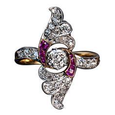 Art Deco Russian Ruby Diamond Wing Ring
