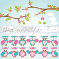 Pink owls 20 digital cliparts DIRECT DOWNLOAD by CreaDigitals