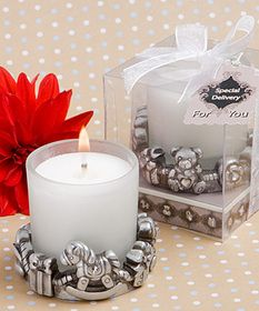 At Fashioncraft, we know that having a baby is sure to add to life's greatest moments. And, this adorable baby themed candle favor brings together many of the classic symbols of a baby's life. With a rocking horse, a pacifier, a teddy bear and more, in the style of today's popular and fashionable bracelets, this candle features a string of beads design to represent the special moments in life's story