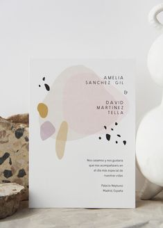 Invitación Terrazzo — Holyoke Paper Co. - modern invitation with color blocks and splotches - Web Design, Layout Design, Terrazzo, Design Poster, Print Design, Invitation Card Design, Modern Wedding Invitations, Invite, Stationary Design