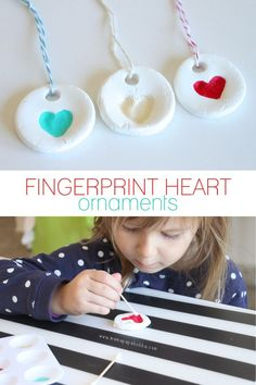 Fingerprint Heart Ornaments. I love these homemade ornaments! They'd be cute to tie on the top of presents for family to keep as a bonus keepsake.