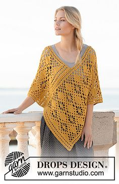 Crocheted poncho in DROPS Cotton Light. The piece is worked with lace pattern. Sizes S - XXXL. Design poncho Butterfly Migration / DROPS - Free crochet patterns by DROPS Design Crochet Poncho Patterns, Crochet Shawl, Hand Crochet, Free Crochet, Pull Crochet, Knit Crochet, Cotton Crochet, Cotton Lace, Crochet Baby