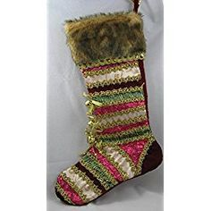 Mark Roberts Maroon, Gold, Pink, Teal, Raspberry Gorgeous Christmas Stocking with Bells & Fur Trim