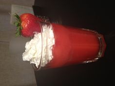 Strawberry shortcake daiquiri........only need cake flavored vodka (I used Smirnoff iced cake flavor) with strawberry margarita/daiquiri mix and fresh strawberries, blended with ice, then top with whip cream and a strawberry....... DELISH!!!