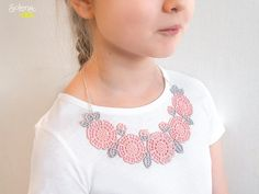 Children Necklace Camellia  Gently pink Childrens collar