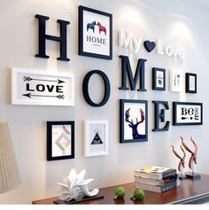European Stype Home Design Wedding Love Photo Frame Wall Decoration Wooden Picture Frame Set Wall Photo Frame Set, White Black-in Frame from Home & Ga… - New Deko Sites Picture Frame Sets, Wooden Picture Frames, Photo Frame Ideas, Photo Frames On Wall, Picture On The Wall, Decorating With Picture Frames, Black Frames On Wall, Small Photo Frames, Bed Picture