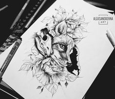 Linework tattoo wallpaper Fuchs Tattoo, Pen Tattoo, Spooky Tattoos, Fox Crafts, Hair Sketch, Drawing Artist, Amazing Drawings, Tattoo Sketches, Tattoo Inspiration