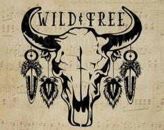 Bison Skull SVG Cow Skull Gypsy Soul Wild Child by GypsysClipart