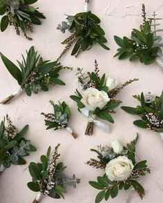 Bouts of roses, boxwood and euc by @heather_page