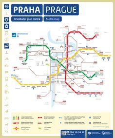 Mapa del metro de Praga, Republica ChecaSi vienes a hacer turismo, la línea A o línea verde del metro de Praga es la que sirve a las principales zonas turísticas, como el Barrio Pequeño (Malostranská), el Barrio Antiguo (Staroměstská), el Barrio Nuevo, zonas comerciales, etc.