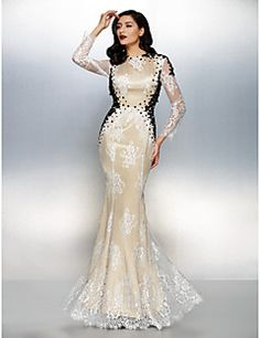 Formal Evening Dress Trumpet Mermaid Jewel Floor-length Lace Dress cdcabf0e64ba