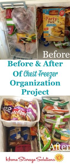 Before and after of a chest freezer organization project {featured on Home Storage Solutions 101}
