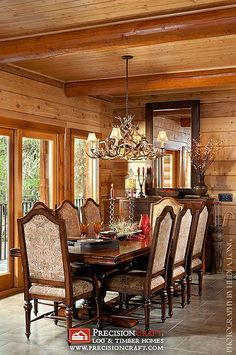Handcrafted Log Home Dining Room | Logs, Room and Cabin