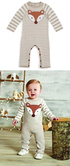 b8ad85fe39e94 Mud Pie Baby Boys Forest Friends Sweater One-Piece with Fox Applique