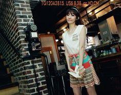 Arrival Fresh Fashion Pocket Embellished Colorful Striped Sleeveless Dress  TQ12042815  US$ 8.38 on WD.CM