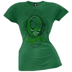 """From The Grateful Dead comes this awesome standard cotton juniors T-Shirt in the color green and says """"Boston 1977"""" on the front. Great T-Shirt for any female fan of the Grateful Dead."""
