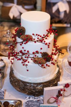 Winter wedding cake with Holly and Pine Cones for Pottery Barn Bridal Fair.