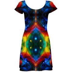 curty by saprillika Short Sleeved Skater Dress