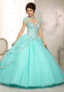 2014 Fashionable Beading Sweep Train Quinceanera Dress in Aqua Blue