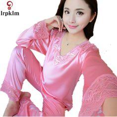 dceeeab0ef Women s lace V Neck Blue Sleep Sets Womens Silk Satin Pajamas Set Pajama  Pyjamas Set Sleepwear
