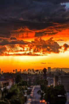 Like fire. A beautiful, orange sunset.