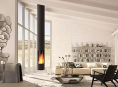 Simple Beauty: Ceiling mounted fireplace by Focus Fireplaces