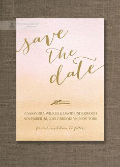 Gold & Ombre Watercolor Save The Date Card by digibuddhaPaperie, $20.00